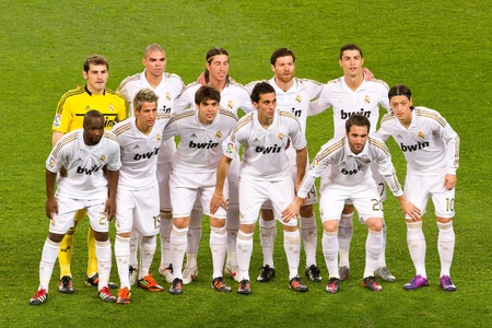 BARCELONA - JANUARY 25, 2012: Real Madrid players lineup before the Spanish Cup match between FC Barcelona and Real Madrid, final score 2 - 2, on January 25, 2012, in Camp Nou, Barcelona, Spain. Stock Photo - 12074175