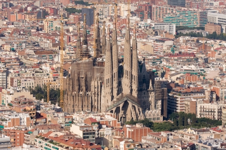 barcelona cathedral: Aerial view of Sagrada Familia, Barcelona. Editorial