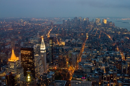 View of Manhattan at night, New York. photo
