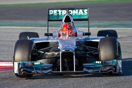 michele: BARCELLONA - 21 febbraio 2012: Michael Schumacher su Mercedes gare a squadre di F1 durante giorni di test di Formula Uno a Squadre Circuity Catalunya, Barcelona, ??Spagna. Editoriali
