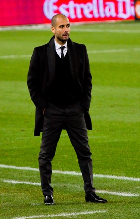 pep: BARCELONA, SPAIN - DECEMBER 13, 2010: Josep Guardiola during the Spanish Soccer League match between FC Barcelona and Real Sociedad, final score 5 - 0, in Camp Nou stadium.