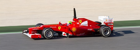 BARCELONA - FEBRUARY 24, 2012: Felipe Massa of Ferrari F1 team races during Formula One Teams Test Days at Catalunya circuity, Barcelona, Spain Redakční