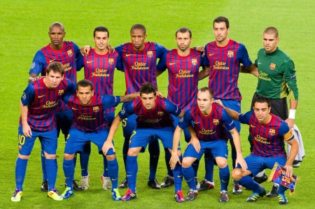 BARCELONA - SEPTEMBER 13: Barcelona players pose for a photo before the Champions League match between FC Barcelona and Milan, final score 2 - 2, on September 13, 2011, in Camp Nou, Barcelona, Spain. Stock Photo - 13824164