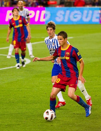 BARCELONA - MAY 15: Ibrahim Afellay (20) during the match between FC Barcelona and Deportivo, final score 0-0, on May 15, 2011 in Camp Nou stadium, Barcelona, Spain.