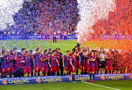 BARCELONA - MAY 15: FC Barcelona players celebrating the Spanish League Championship Trophy in Camp Nou stadium, on May 15, 2011 in Barcelona, Spain. Editorial