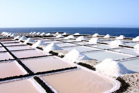 evaporacion: Sal laguna de evaporaci�n, La Palma, Espa�a
