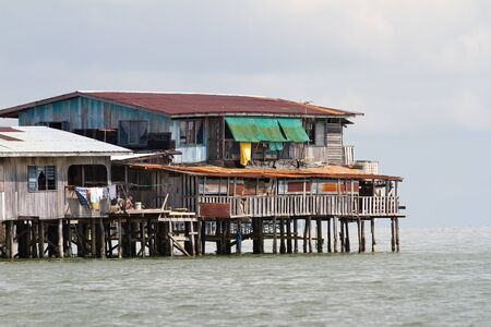 sandakan: Floating homes at Sandakan, Borneo, Malaysia Stock Photo