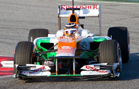 BARCELONA - FEBRUARY 21: Nico Hulkenberg of Force India F1 team racing at Formula One Teams Test Days at Catalunya circuit on February 21, 2012 in Barcelona, Spain. Stock Photo - 13824202