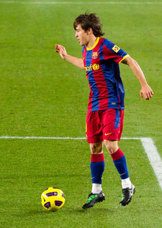 BARCELONA - JANUARY 16: Bojan Krkic in action during the Spanish League match between FC Barcelona and Malaga, 4 - 1, at Camp Nou stadium. January 16, 2011 in Barcelona, Spain.