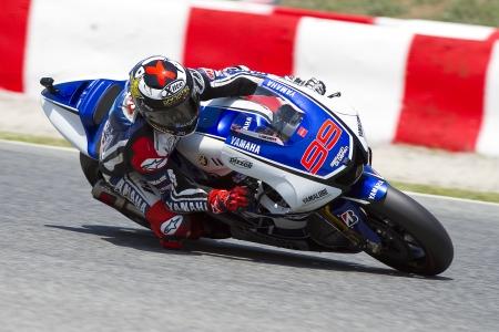 ヤマハ ・ ファクトリー チーム レース無料練習セッションの MotoGP グランド グランプリ カタルーニャの, で 2012 年 6 月 1 日バルセロナ、スペインの 報道画像