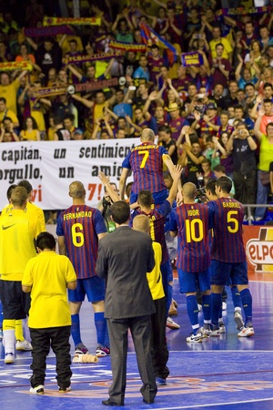 BARCELONA, SPAIN - JUNE 17: Javi Rodriguez -7- plays his last professional Futsal match with FC Barcelona against El Pozo Murcia, final score 4 - 1, on June 17, 2012, in Barcelona, Spain.