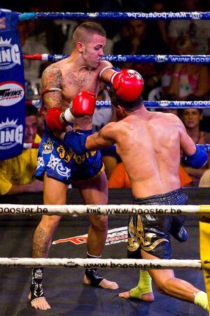 BARCELONA, SPAIN - OCTOBER 15: Jordi Fernandez and Bilal El Almeri fight at the fight4life Muay Thai - 67 kg event, on October 15, 2011, in Barcelona, Spain