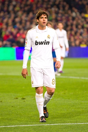 BARCELONA - JANUARY 25: Ricardo Kaka of Madrid in action during the Spanish Cup match between FC Barcelona and Real Madrid, final score 2 - 2, on January 25, 2012, in Barcelona, Spain