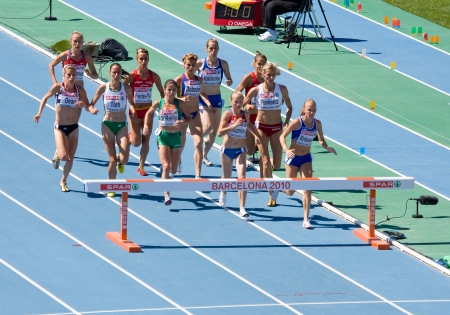 steeplechase: BARCELONA, SPAIN - JULY 28: Competitors of 3000 meters Steeplechase Women Round 1 of the 20th European Athletics Championships at the Olympic Stadium on July 28, 2010, in Barcelona, Spain Editorial