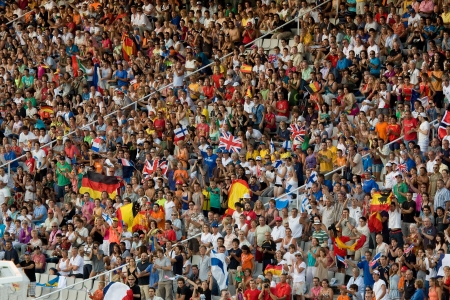 olympic games: BARCELONA - JULY 28: European Athletics Championships Barcelona 2010. In the picture, some supporters in the Olympic Stadium Lluis Companys. July 28, 2010 in Barcelona, Spain Editorial