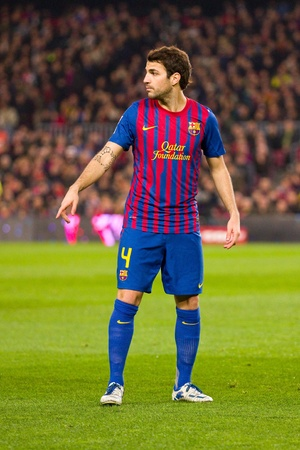 cesc: BARCELONA - JANUARY 4: Cesc Fabregas of Barcelona in action during the Spanish Cup match between FC Barcelona and Osasuna, final score 4 - 0, on January 4, 2012 in Camp Nou stadium, Barcelona, Spain