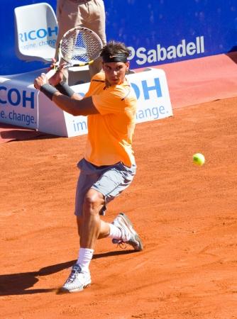 racquetball: BARCELONA - 29 DE ABRIL: tenista espa�ol Rafael Nadal en acci�n durante su partido final contra David Ferrer en Barcelona torneo de tenis Conde de Godo el 29 de abril de 2012, en Barcelona, ??Espa�a