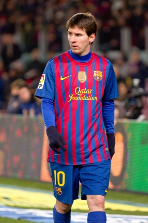 BARCELONA - FEBRUARY 2: Leo Messi in action during the Spanish Cup match between FC Barcelona and Valencia CF, final score 2-0, on February 2, 2012, in Camp Nou stadium, Barcelona, Spain