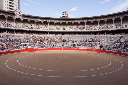torero: BARCELONA - JUNE 6: Crowd of people ready to see a corrida or bullfight, typical Spanish tradition where a torero kills a bull, on June 6, 2010, in Plaza Monumental, Barcelona, Spain Editorial