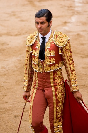 BARCELONA - JUNE 6: Morante de la Puebla in action during a bullfight, typical Spanish tradition where a bullfighter kills a bull, on June 6, 2010 in Barcelona, Spain