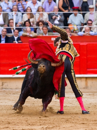 BARCELONA - SEPTEMBER 24: The famous torero Jose Tomas in action at the last bullfight in Catalonia before the government prohibition, on September 24, 2011 in Barcelona, Spain 에디토리얼