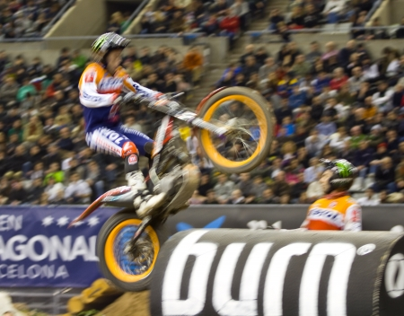 trial indoor: BARCELONA - FEBRUARY 5: Toni Bou, the world champion, compete at Trial Indoor of Barcelona, on February 5, 2012, in Palau Sant Jordi stadium, Barcelona, Spain. He was the winner