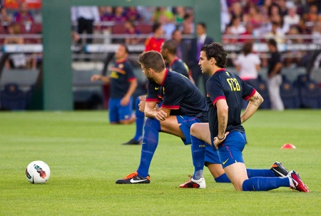 fabregas: Some FCB players in action during the Gamper Trophy final match between FC Barcelona and SSC Napoli, final score 5 - 0, on August 22, 2011 in Camp Nou stadium, Barcelona, Spain