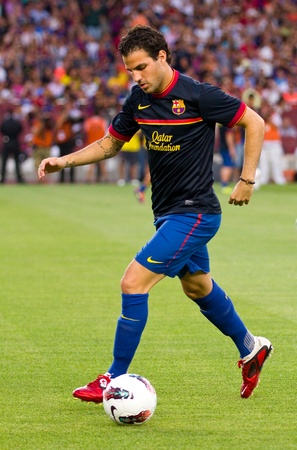 fabregas: Cesc Fabregas in action during the Gamper Trophy final match between FC Barcelona and SSC Napoli, final score 5 - 0, on August 22, 2011 in Camp Nou stadium, Barcelona, Spain Editorial