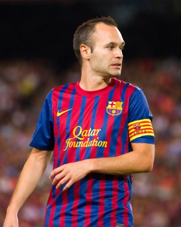 iniesta: Andres Iniesta in action during the Gamper Trophy final match between FC Barcelona and SSC Napoli, final score 5 - 0, on August 22, 2011 in Camp Nou stadium, Barcelona, Spain
