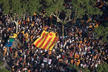 BARCELONA, SPAIN - JULY 10: Up to a million people converge on Barcelona to join a rally demanding independence for Catalonia, on July 10, 2010, in Barcelona, Spain Stock Photo - 15156589