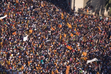 BARCELONA, SPAIN - JULY 10: Up to a million people converge on Barcelona to join a rally demanding independence for Catalonia, on July 10, 2010, in Barcelona, Spain Stock Photo - 15156591
