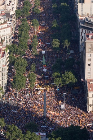 political rally: BARCELONA, SPAIN - JULY 10: Up to a million people converge on Barcelona to join a rally demanding independence for Catalonia, on July 10, 2010, in Barcelona, Spain