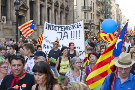 BARCELONA, SPAIN - SEPTEMBER 11: Up to a million people converge on Barcelona to join a rally demanding independence for Catalonia, on September 11, 2012, in Barcelona, Spain Stock Photo - 15156603