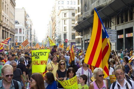 BARCELONA, SPAIN - SEPTEMBER 11: Up to a million people converge on Barcelona to join a rally demanding independence for Catalonia, on September 11, 2012, in Barcelona, Spain Stock Photo - 15156608
