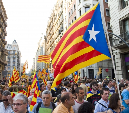 BARCELONA, SPAIN - SEPTEMBER 11: Up to a million people converge on Barcelona to join a rally demanding independence for Catalonia, on September 11, 2012, in Barcelona, Spain Stock Photo - 15156602