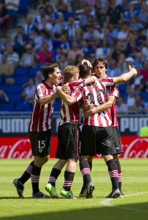 BARCELONA, SPAIN - SEPTEMBER 16: Athletic players celebrating a goal during the Spanish League match between RCD Espanyol and Athletic Club, final score 3-3, on September 16, 2012 in Barcelona, Spain