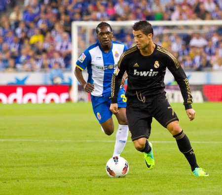 Cristiano Ronaldo in action during the Spanish League match between RCD Espanyol and Real Madrid, final score 0 - 4, on October 2, 2011 in Cornella stadium, Barcelona, Spain