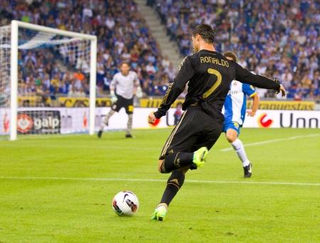 RCD エスパニョールと最終的なレアル マドリードのスペイン リーグの試合中にアクションでクリスティアーノ Ronaldo スコア 0 - 4、2011 年 10 月 2 日ス
