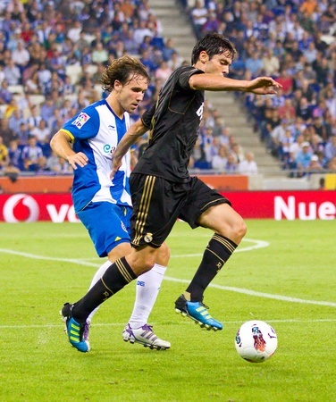 Ricardo Kaka in action during the Spanish League match between RCD Espanyol and Real Madrid, final score 0 - 4, on October 2, 2011 in Cornella stadium, Barcelona, Spain