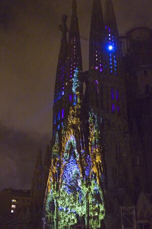 merce: The unique colorful multimedia mapping Ode a la Vie at the Sagrada Familia s Nativity facade during La Merce Festival, on September 23, 2012, in Barcelona, Spain