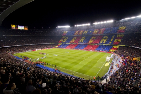 BARCELONA - JANUARY 25: View of Camp Nou stadium during Spanish Cup match between FC Barcelona and Real Madrid, final score 2 - 2, on January 25, 2012, in Barcelona, Spain