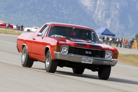 LA SEU URGELL, SPAIN - OCTOBER 7: A Chevrolet El Camino of 1972 take part in Road and Track racing weekend organizated by American Car Club, on October 7, 2012, in La Seu d