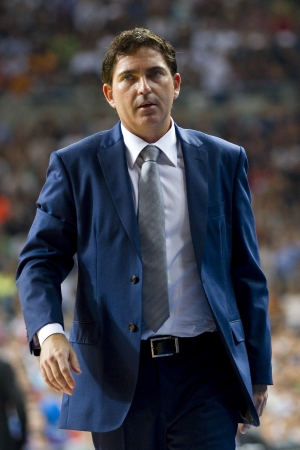xavi: BARCELONA - OCTOBER 9: Xavi Pascual, coach of FCB, at FC Barcelona vs Dallas Mavericks friendly match, final score 99-85, on October 9, 2012, in Palau Sant Jordi stadium, Barcelona, Spain.