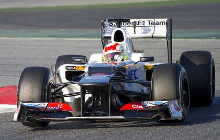 sauber: BARCELONA - FEBRUARY 21: Sergio Checo Perez of Sauber F1 team racing at Formula One Teams Test Days at Catalunya circuit on February 21, 2012 in Barcelona, Spain Editorial