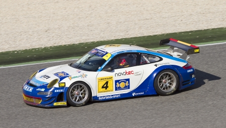 Alvaro Barba racing at International GT Open with a Porsche 911, on October 30, 2011, in Circuit de Catalunya, Barcelona, Spain