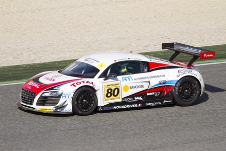 Joao Pedro Figueiredo racing at International GT Open with an Audi R8, on October 30, 2011, in Circuit de Catalunya, Barcelona, Spain
