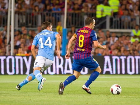 iniesta: Andres Iniesta in action during the Gamper Trophy final match between FC Barcelona and Napoli, final score 5 - 0, on August 22, 2011 in Camp Nou stadium, Barcelona, Spain