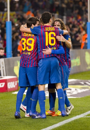 FCB Players celebrating a goal during the Spanish Cup match between FC Barcelona and Osasuna, final score 4 - 0, on January 4, 2012 in Camp Nou stadium, Barcelona, Spain