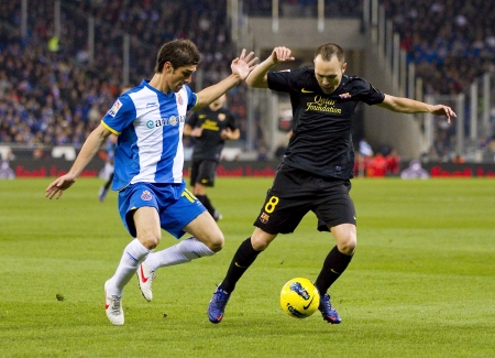 iniesta: Andres Iniesta of Barcelona in action during the Spanish league match between RCD Espanyol and FC Barcelona, final score 1-1, on January 8, 2012, in Barcelona, Spain