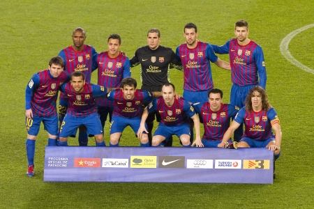 Barcelona players posing for photos before the Spanish Cup match between FC Barcelona and Real Madrid, final score 2 - 2, on January 25, 2012, in Camp Nou, Barcelona, Spain